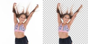 2 photo of a girl with flying hair example of image masking service