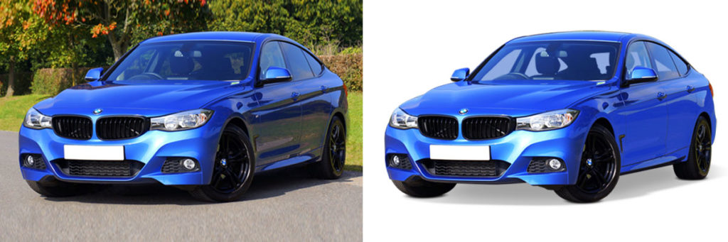 A blue car with its original background and another is with white background