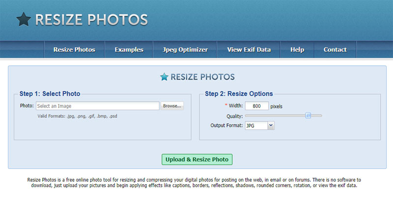 Resize photo is also a free image optimizer